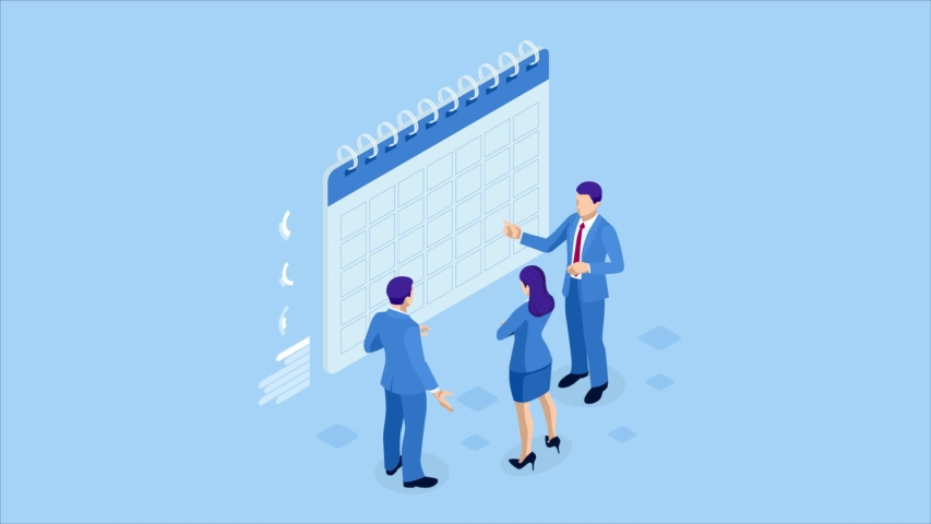 Isometric weekly schedule and calendar planner organization management. Online business workflow, time management, planning, task app, teamwork and meeting. HD Video. Royalty-Free Stock Footage #1033775147