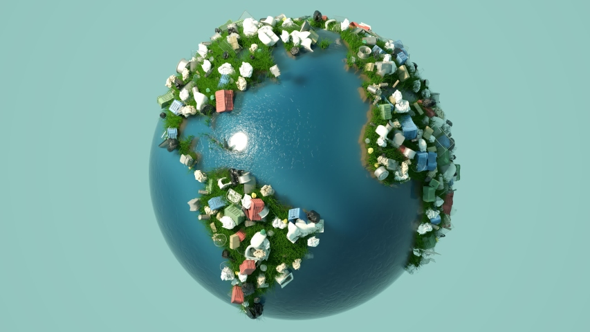 Spinning earth globe with every kind of garbage appears on the land covered with green grass. Plastic, glass and metal trash materialize on the planet surface. Symbol of environment pollution