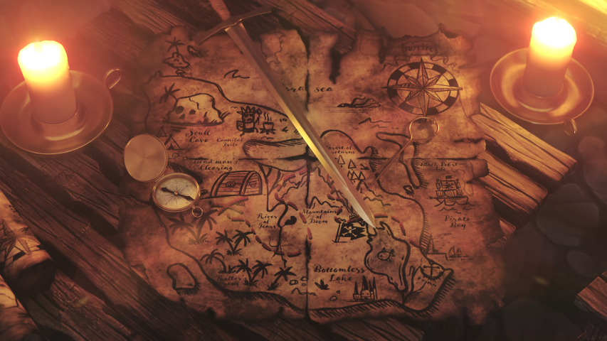 Old, worn, translucent, handmade drawn treasure map on a wooden tavern table lit by warm candle light. X marks the spot with a red dashed line leading to it. Camera slowly pitch.  | Shutterstock HD Video #1033785788