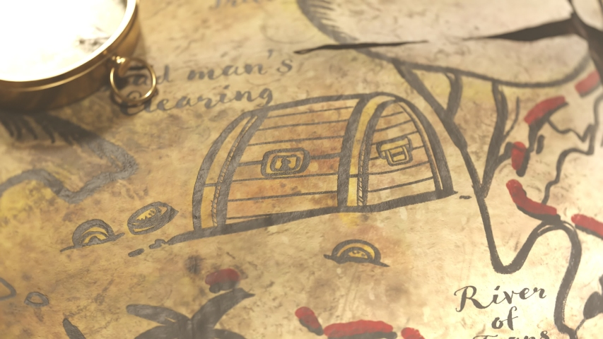 Funny hand-drawn ancient map with animated drawings. Camera is  moving over the map showing sailing pirate ship, flag, palm trees, cannibal dancing near the pot and treasure chest full of gold  Royalty-Free Stock Footage #1033785830