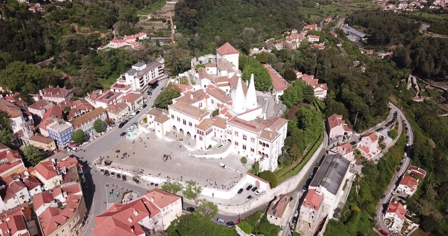 Aerial view of impressive Sintra National Palace, Portugal, Europe | Shutterstock HD Video #1033799399