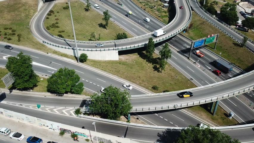Aerial view of high-level highway interchange in Barcelona, Spain   Shutterstock HD Video #1033800434