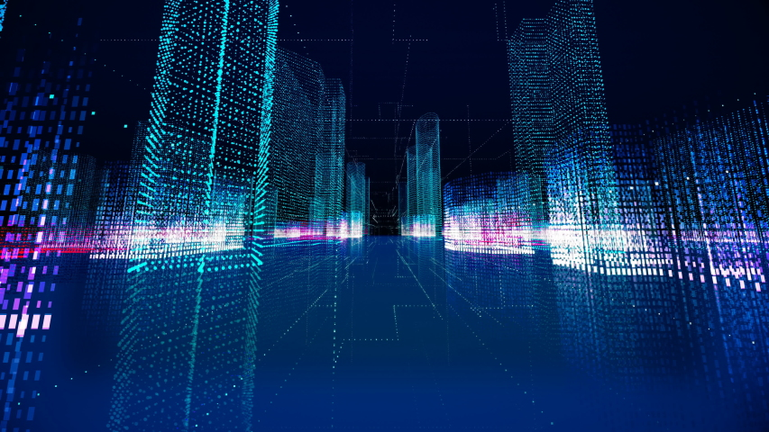 Futuristic matrix hologram city seamless loop. Digital blueprint of buildings with binary code particles 3D animation. Construction, growth, technology and connection concept with alpha channel matte | Shutterstock HD Video #1033807151