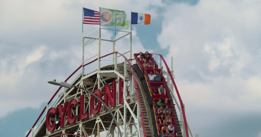 * Brooklyn New York United States July 18, 2019. Coney Island started out as a seaside resort in 1824. The world famous Cyclone roller coaster.