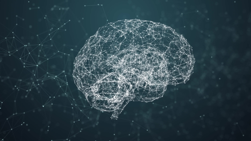 Artificial intelligence ( AI), Rotating human brain animation, modern computer technologies concepts. Deep learning, Big Data, Robotic system. Brain connect digital lines, Artificial intelligence. The Royalty-Free Stock Footage #1033844093