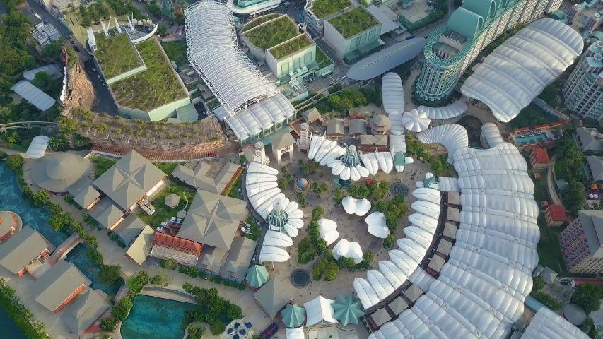 Singapore, Singapore - 01 06 2018: Drone flight of Universal Studios Singapore
