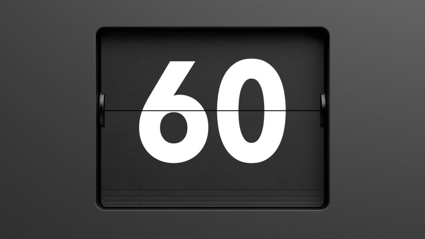 60 second countdown. A flip clock counts down from 60 seconds to zero. High quality 3d animation.