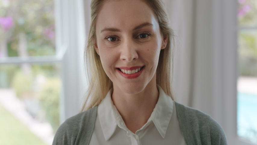 Portrait beautiful woman smiling looking happy at home feeling positive confident female beauty self image testimonial concept 4k footage | Shutterstock HD Video #1033913117