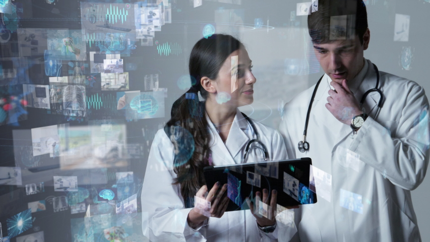 Medical technology concept. Electronic medical record. Telemedicine. | Shutterstock HD Video #1033933535