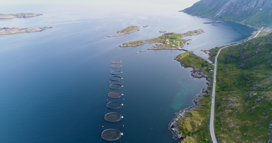 Salmon farm, aerial fly over tilted shot of salmon fishing pools near coast with view of islands and coastal road in northen Norway / Lofoten islands
