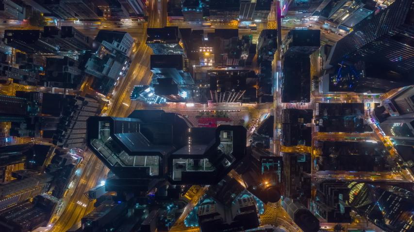 Night illuminated flight over hong kong city downtown traffic aerial topdown panorama 4k timelapse | Shutterstock HD Video #1033953935