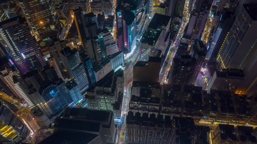 Night illumination flight over hong kong city downtown traffic aerial topdown panorama 4k timelapse | Shutterstock HD Video #1033954118