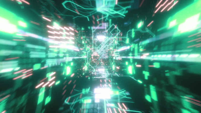 Flying in the chaotic technological futuristic space tunnel. Animation for music videos, nightclubs, audiovisual shows and performance, LED screens and projection cards. Seamless loop 3d render   Shutterstock HD Video #1033955720