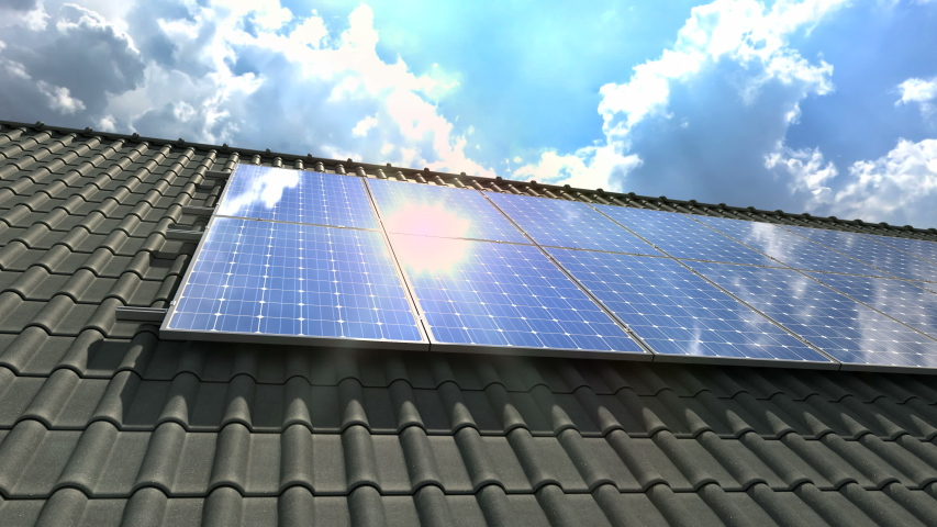 Solar panels modules on roof on a clear sunny day - 4k | Shutterstock HD Video #1033956035
