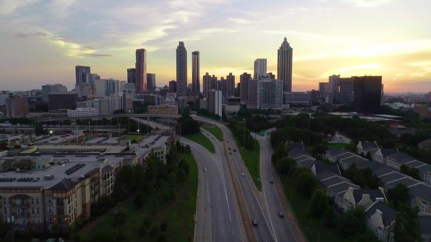 Atlanta Georgia Drone Skyline Aerial Cityscape