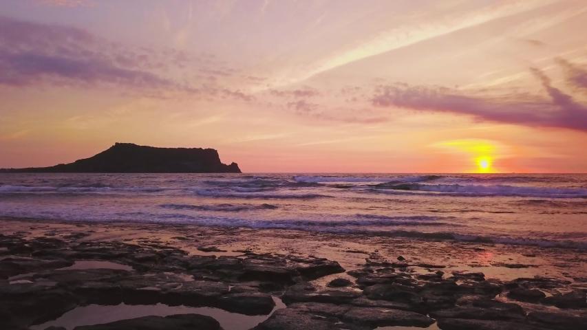 Seascapse in morning sunrise at Jeju island, South Korea. Beautiful seascape in Jeju-do, South Korea.   Shutterstock HD Video #1033958960
