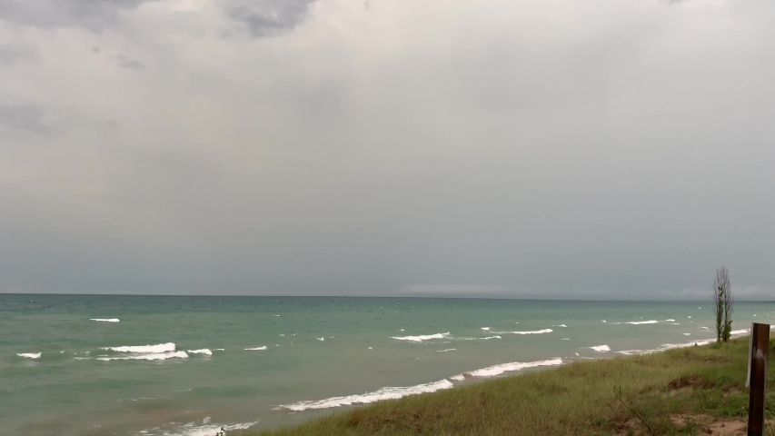 Heavy waves after the storm on Lake Huron, ON Canada - 4K Video