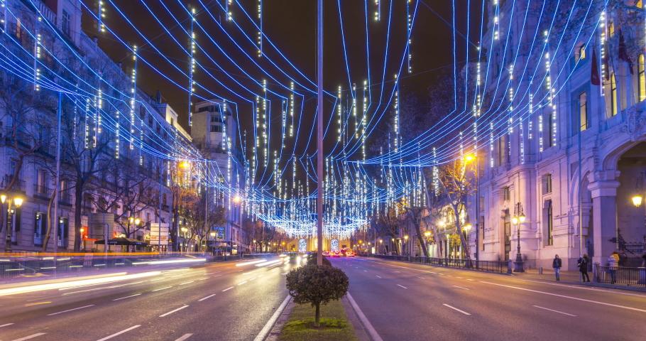 Madrid, Spain - 01 02 2019: Timelapse of Alcalá street during christmas season in Madrid, Spain | Shutterstock HD Video #1033971557