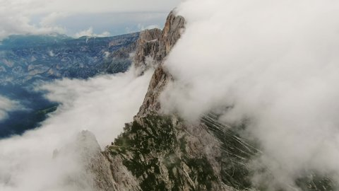 Aerial view of the Dolomites peaks Italy