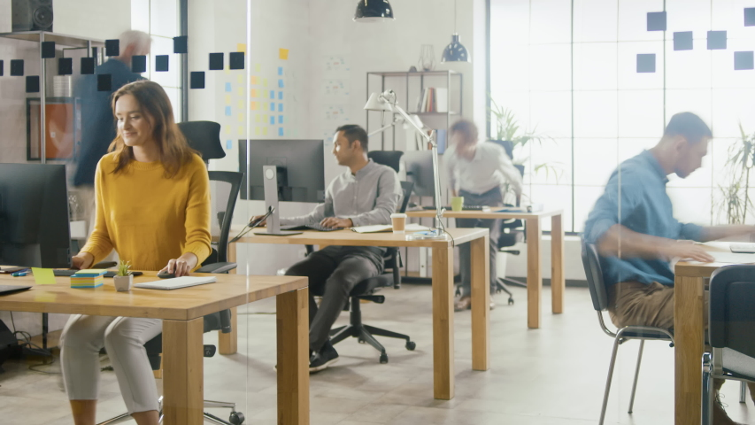 Time-Lapse Shot: Group of Professional Employees Working on Desktop Computers, Walking Through the Busy Office. Talking With Colleagues, Designing Software, Doing Customer Support, Emailing Clients Royalty-Free Stock Footage #1033983056
