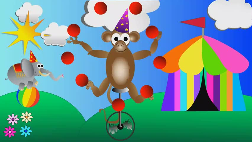 Monkey juggling balls and circus elephant balancing on a big ball kids cartoon animation  | Shutterstock HD Video #10339859