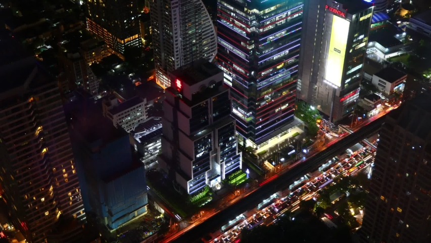 Timelapse night traffic during rush hour in Silom road and Sathorn road, Bangkok, Thailand. Time lapse of Bangkok city at night. | Shutterstock HD Video #1033988054