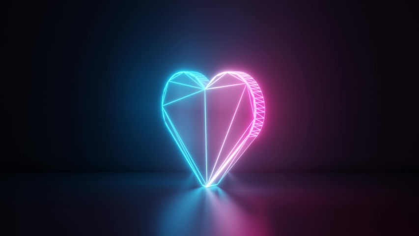 3d rendering glowing blue purple neon laser light with wireframe symbol of heart silhouette in empty space corner seamless fade animation | Shutterstock HD Video #1033988966