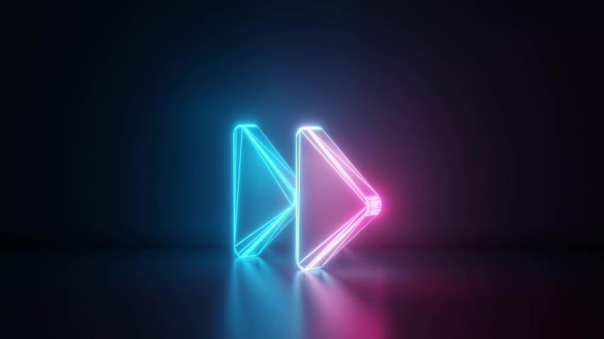 3d rendering glowing blue purple neon laser light with wireframe symbol of two right double arrows in empty space corner seamless fade animation | Shutterstock HD Video #1033989113
