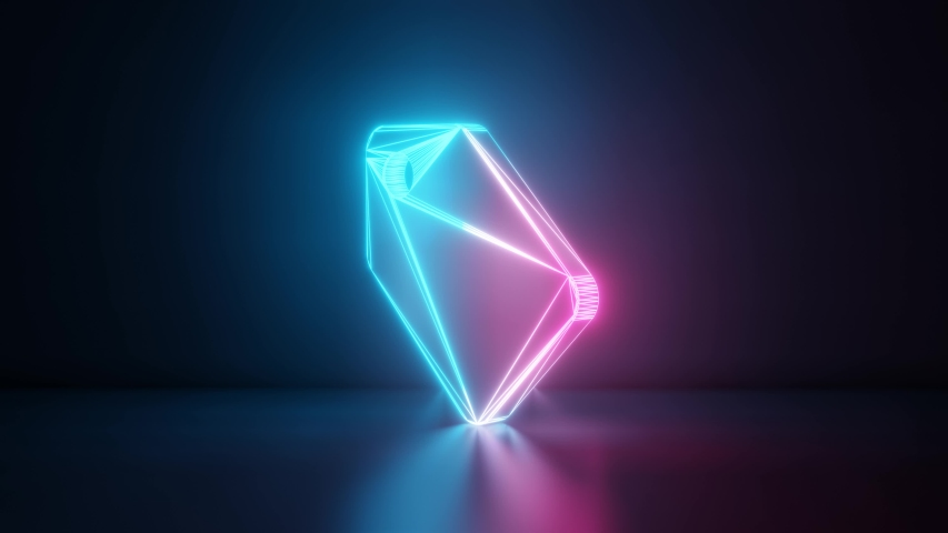 3d rendering glowing blue purple neon laser light with wireframe symbol of label with holding hole in empty space corner seamless fade animation #1033989647