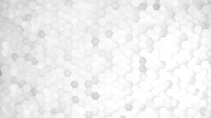 Abstract Honeycomb Background Loop wide angle. Light, minimal, clean, moving hexagonal grid wall with shadows. Loopable