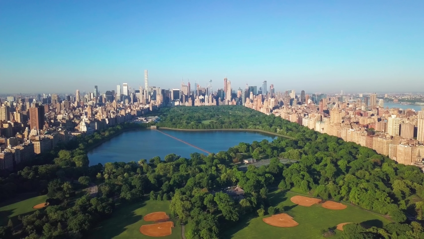 New York, New York / United States - 05 25 2018: New York Central Park Aerial
