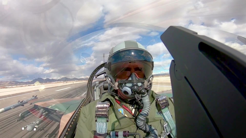 CIRCA 2010s - Cockpit view of a fighter pilot as he takes off from Nellis Air Force base during the Red Flag 19-1 exercises, 2019