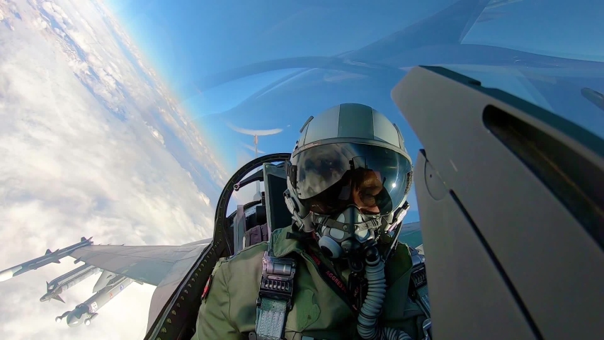 CIRCA 2010s - Cockpit view of a fighter pilot as he flies over Nellis Air Force Base during the Red Flag 19-1 exercises, 2019