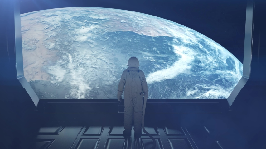 Alone astronaut in futuristic space corridor, room. View of the earth. 4K