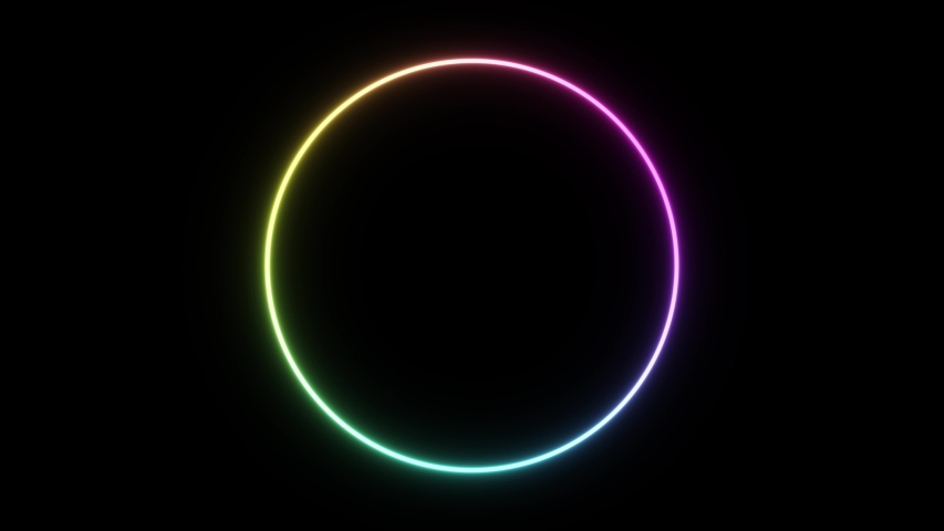 Circle abstract seamless background full range of colors web neon box pattern LED screens looped animation  #1034079977