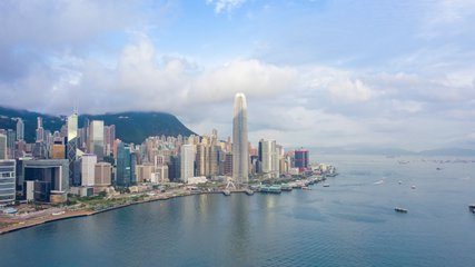 aerial view hyperlapse 4k video of Victoria Harbour in Hong Kong. hyper lapse in hong kong city.