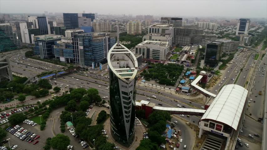 Gurugram or Gurgaon,India-5th,June 2019: A beautiful day aerial shot of offices and traffic movement in Gurugram or Gurgaon