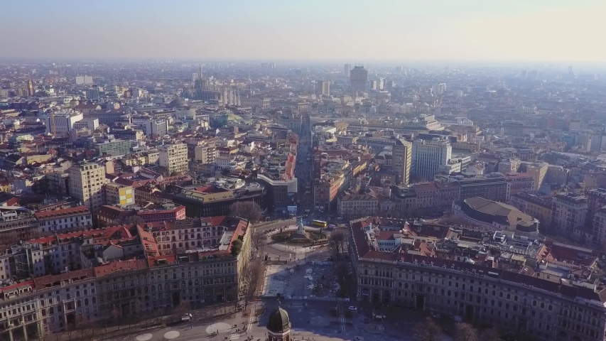 Milan Italy cityscape aerial panorama 4k horizontal boulevard Italian Boulevard Aerial footage - Riprese Erie Short flight of skyscrapers on a clear day Architecture of the city. Autumn evening. Drone | Shutterstock HD Video #1034116589