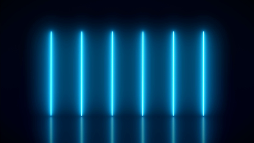 Video animation of glowing vertical neon lines in blue on reflecting floor. - Abstract background - laser show