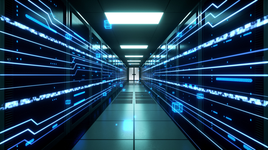 Digital information flows through network and data servers behind mesh panels in a server room of a data center or ISP. Forward Dolly Shot, 4K High Quality Animation Royalty-Free Stock Footage #1034159981