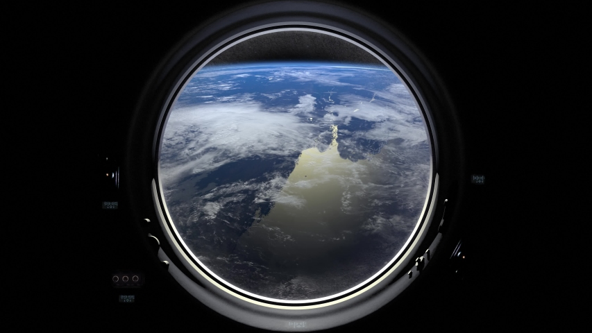 Earth through the porthole window of spaceship. International space station moves to the right. Realistic atmosphere. ISS. 4K.