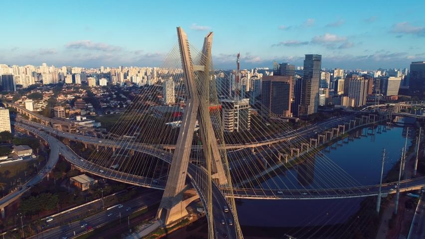Estaiada's bridge aerial view. São Paulo, Brazil. Business center. Financial Center. Great landscape. | Shutterstock HD Video #1034188322