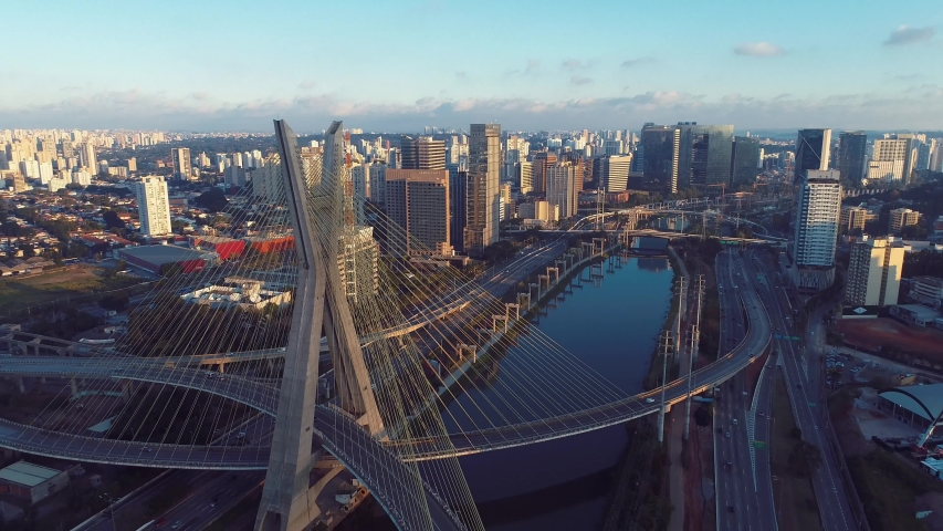 Estaiada's bridge aerial view. São Paulo, Brazil. Business center. Financial Center. Great landscape. | Shutterstock HD Video #1034188427