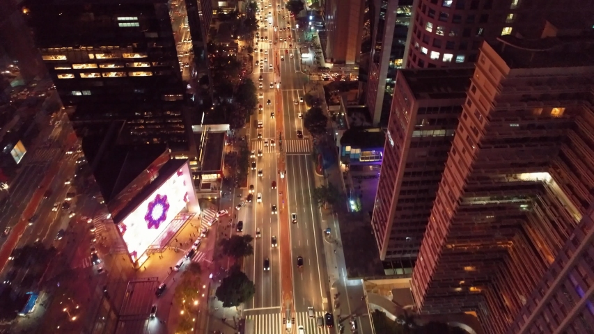 Aerial view of Paulista Avenue, São Paulo, Brazil. Night's scenery. Downtown's scene. Landmark of the city, Heart of São Paulo. Illuminated avenue. | Shutterstock HD Video #1034188436