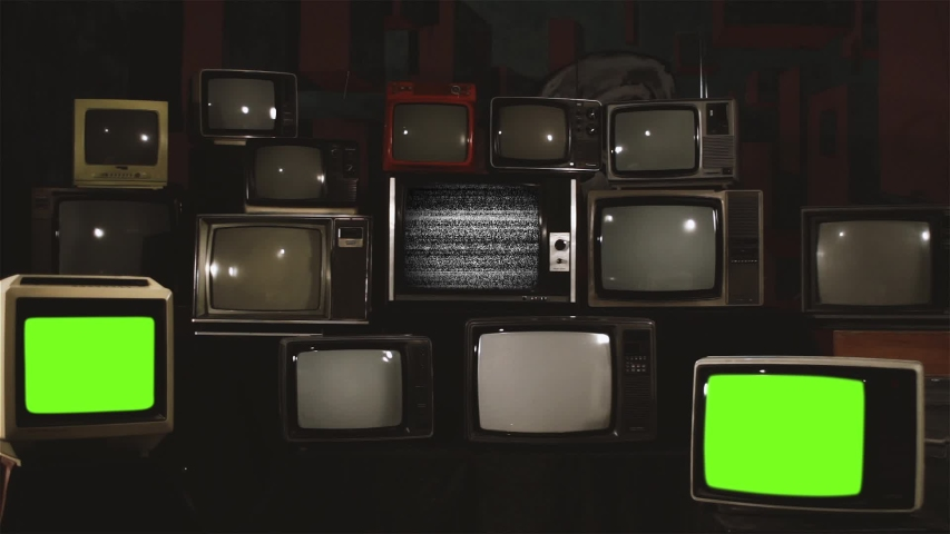 "Three Retro Televisions Turning On Green Screen. White Contrast Tone. You can replace green screen with the footage or picture you want with ""Keying"" effect in AE (check out tutorials on Internet). 