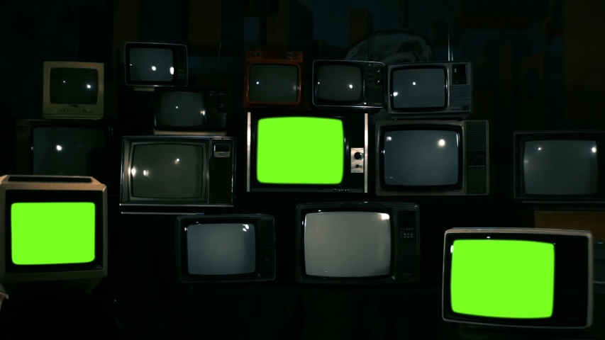 "Three Retro Televisions Turning On Green Screen. Blue Steel Tone. Zoom Out. You can replace green screen with the footage or picture you want with ""Keying"" effect in AE (check out tutorials). 