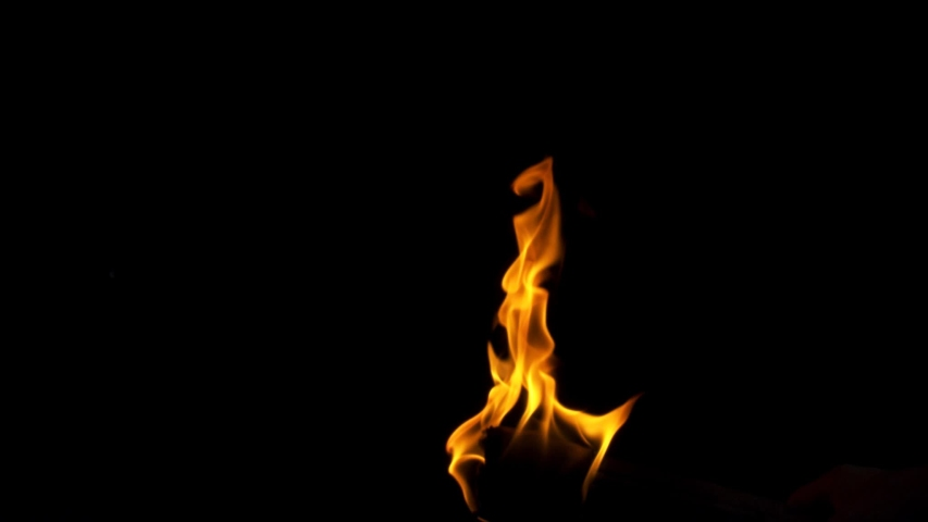 Burning fire. Bonfire. Closeup of flames burning slow motion effect background footage motion graphics, or as a background or overlay 4K