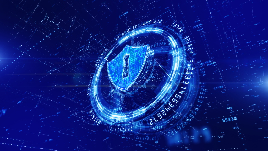 HUD and Shield Icon of Cyber Security, Digital Data Network Protection, Future Technology Network Concept. | Shutterstock HD Video #1034229302