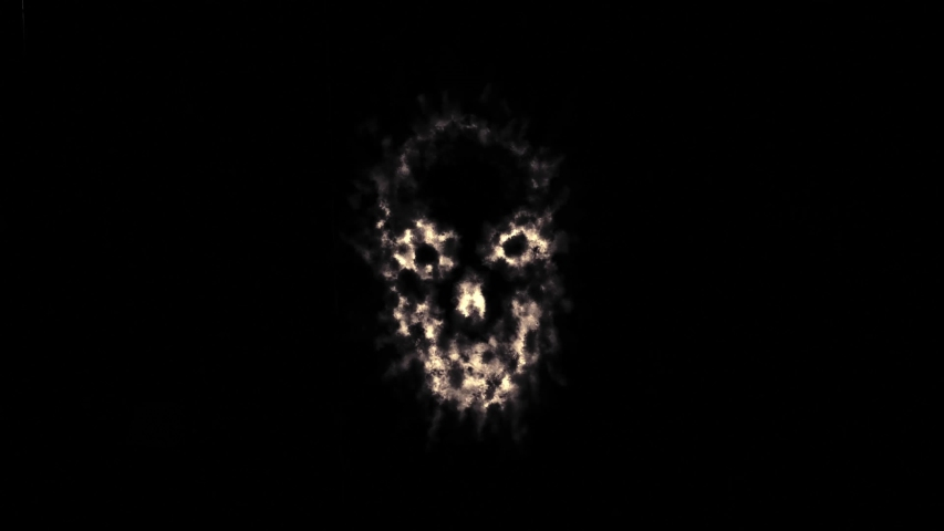 Terrible skull ghosts. Vj looped animation with damaged film effect. Abstraction video in genre of horror. Monochrome color.  | Shutterstock HD Video #1034238917