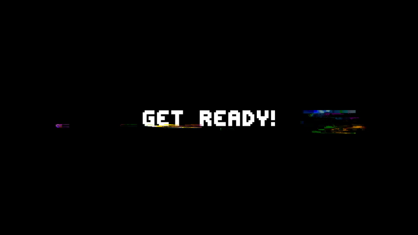 Retro videogame press start text words on old tv vhs glitch interference screen . New quality universal vintage motion dynamic animated background colorful joyful cool video footage